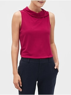 Crepe Split-Neck Top