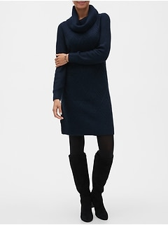 Geo Cable Cowl-Neck Sweater Dress