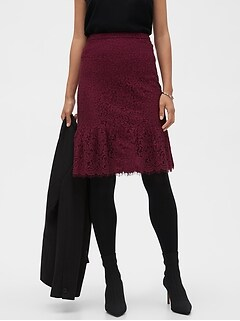 Lace Flounce Pencil Skirt