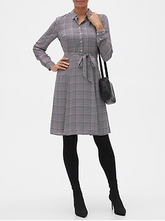 Tailored Plaid Shirt Dress