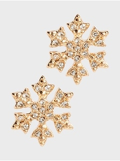 Snowflake Pave Stud Earrings