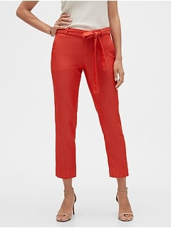 Avery Tie-Waist Tailored Ankle Pant
