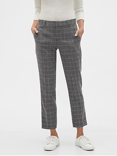 Avery Marled Windowpane Tailored Ankle Pant