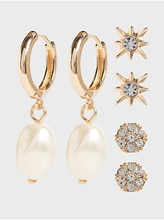 Baroque Pearl Earrings (3-pack)