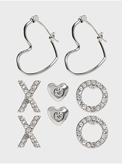 XO Pave Hearts Earrings
