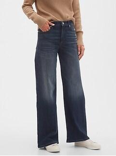 High-Rise Dark Wash Wide-Leg Jean