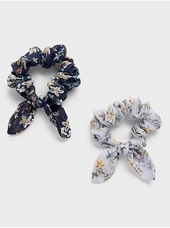 Small Bow Floral Print Scrunchie (2 Pack)