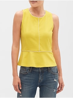 Piped Peplum Tank