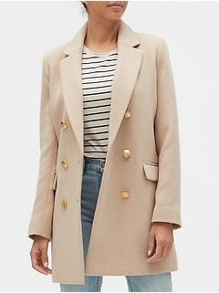 Petite Military Double-Breasted Coat