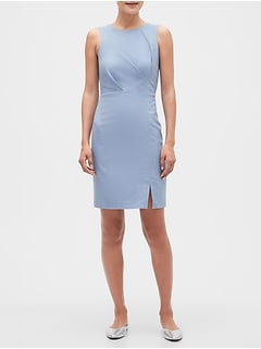 Petite Textured Chambray Sheath Dress