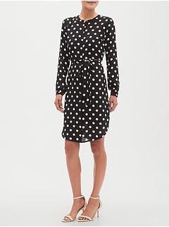 Petite Blouson-Sleeve Shirt Dress