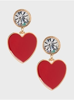 Enamel Heart Drop Earrings