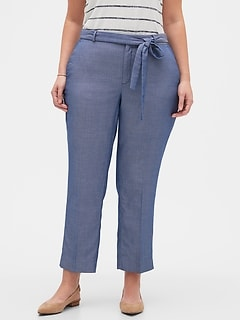 Curvy Avery Herringbone Tie-Waist Tailored Ankle Pant