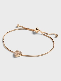 Pave Heart Pull Through Bracelet