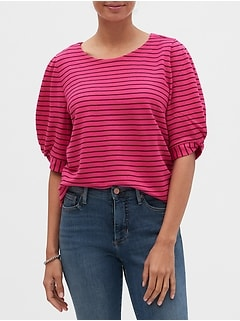 Striped Twist-Sleeve Top