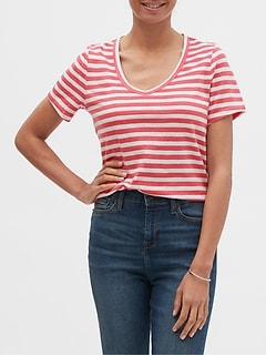 Striped Malibu Slub V-Neck T-Shirt