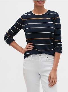 Washable Forever Multi-Striped Crew-Neck Sweater