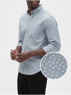 Slim-Fit Untucked Oxford Yarn-Dye Shirt