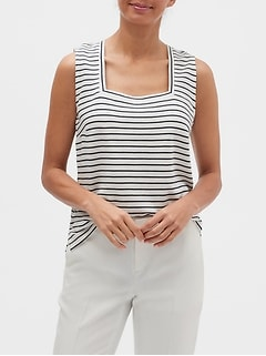 Striped Square-Neck Tank