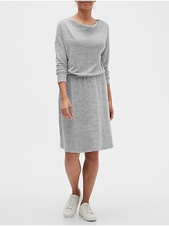 LuxeSpun Cowl-Neck Fit-and-Flare Dress