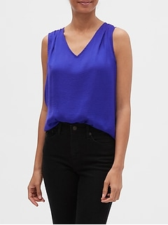 Pleated V-Neck Tank