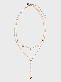 Multi-Stone Drop Lariat Necklace