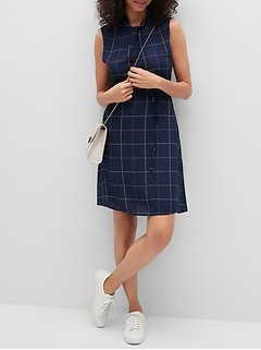 Plaid Twist-Neck Fit-and-Flare Dress