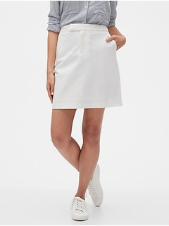 White Bi-Stretch A-Line Skirt