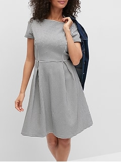 Grid Textured Fit-and-Flare Dress