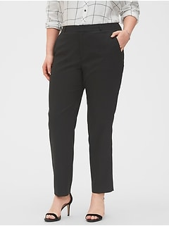 Washable Curvy Ryan Black Slim Straight Suit Pant