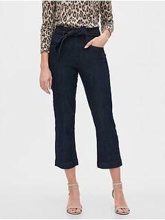 High-Rise Straight Tie-Waist Rinse Crop Jean