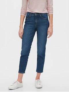 High-Rise Dark Wash Straight Crop Jean