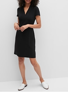 Petite Pleat-Neck Sheath Dress