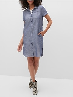 Petite Roll-Cuff Linen Shirtdress
