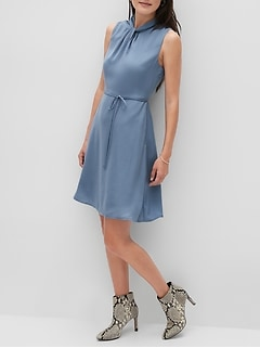 Twist-Neck Fit-and-Flare Dress