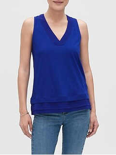 Mixed Material V-Neck Tank