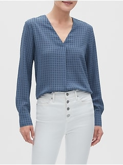 Drapey Textured V-Neck Blouse