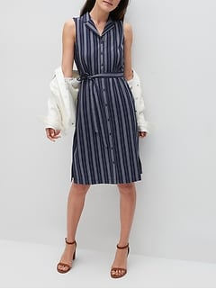 Crinkle Striped Shirt Dress