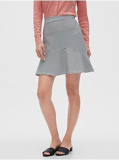 Knit Gingham Fit and Flare Skirt