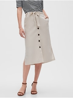 Linen Button-Down Midi A-Line Skirt