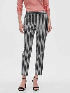 Avery Striped Linen Blend Tailored Ankle Pant