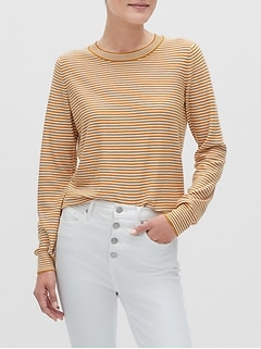Washable Forever Striped Crew-Neck Sweater