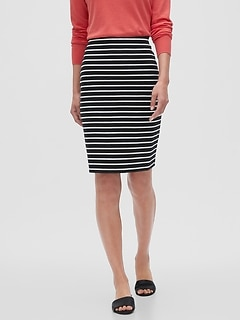 Knit Striped Pencil Skirt