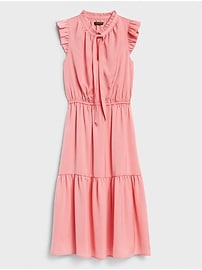 Ruffle-Neck Midi Dress