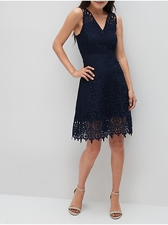 Petite Lace Fit-and-Flare Dress