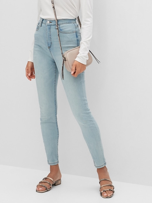 High-Rise Soft Touch Light Wash Destructed Skinny Jean