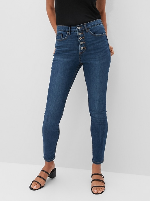 Petite High-Rise Soft Touch Medium Wash Button-Fly Skinny Jean
