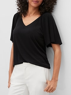 Matte Jersey Gathered-Sleeve V-Neck Top