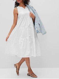 Organic Cotton Tiered Midi Dress