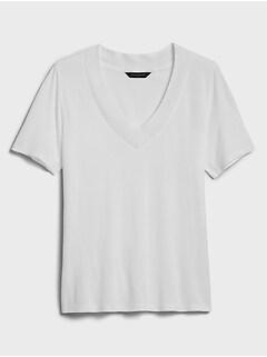 Pointelle Trim V-Neck T-Shirt